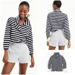 J Crew striped snap-neck sweatshirt S J2159
